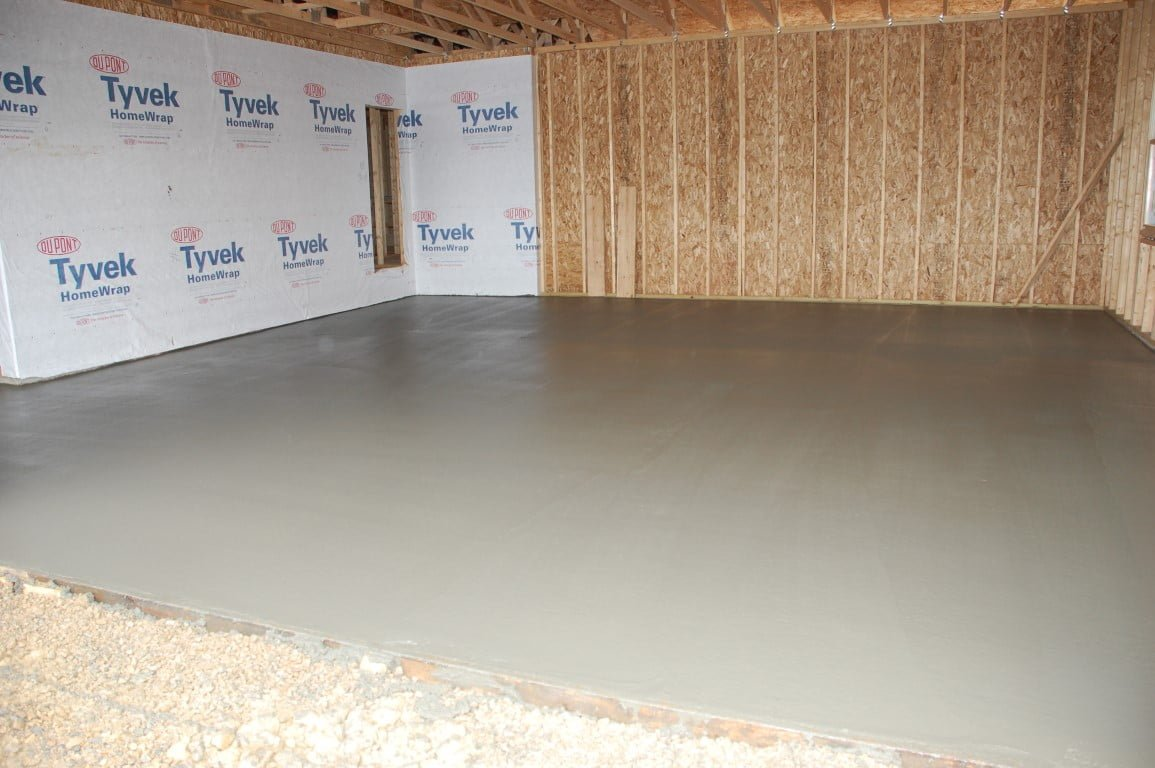 Finished concrete floor in garage